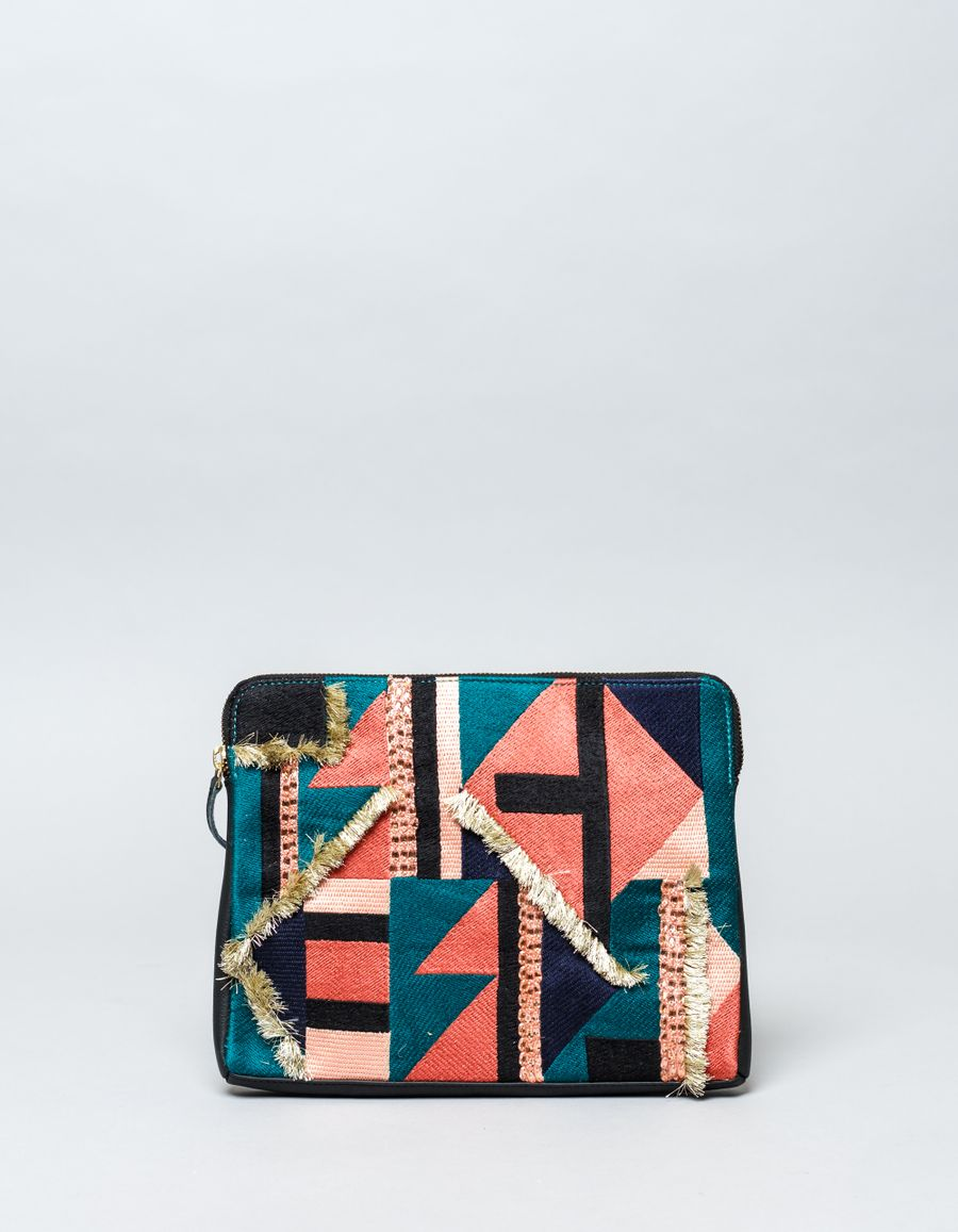 Lizzie Fortunato Safari Tahiti Triangle Clutch