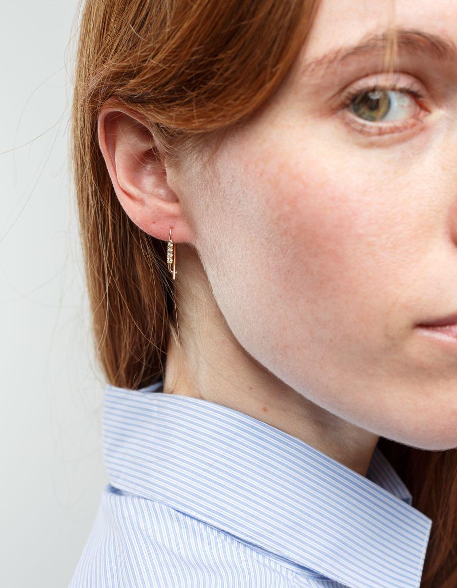 Quarry Jewelry Triptych Diamond Bar Earrings