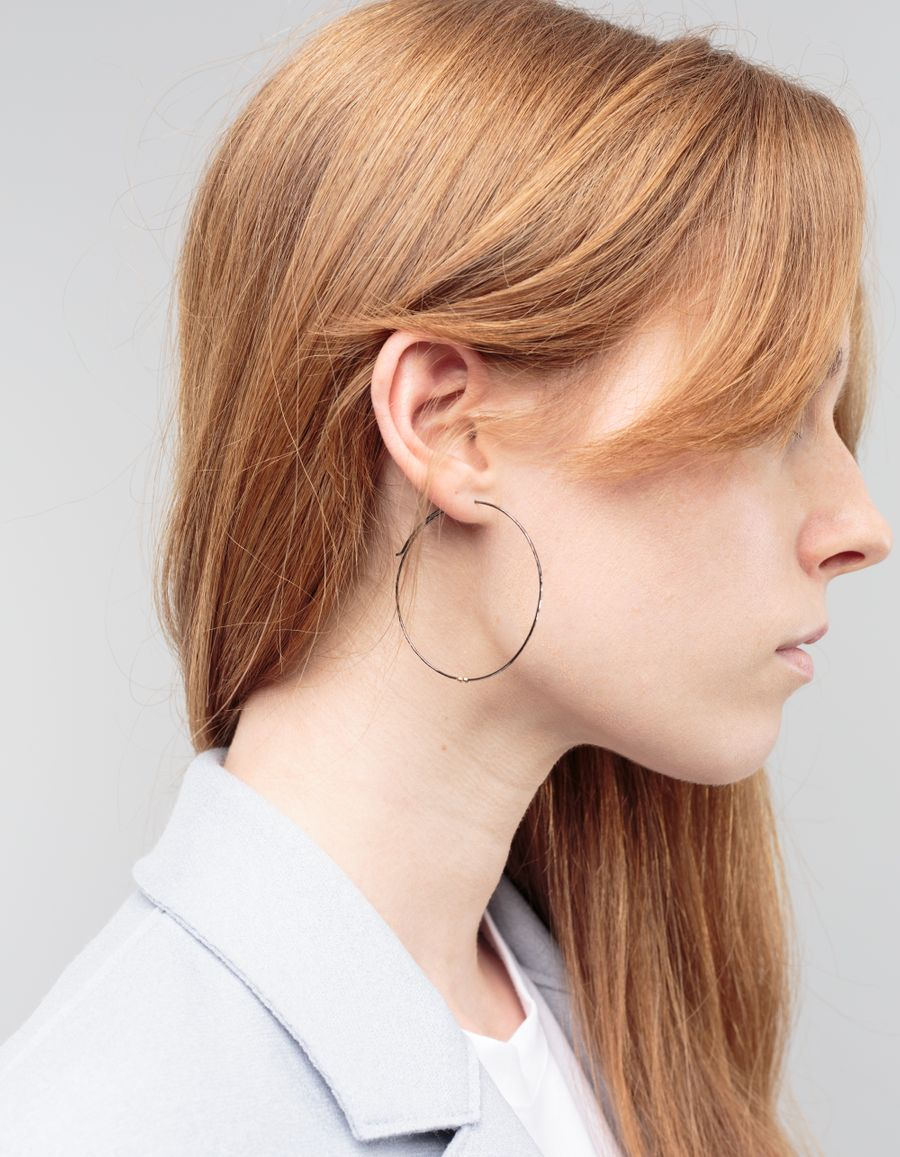 Laura Lee Large Hoop Earring Rodium